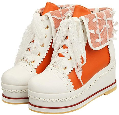 Caradise Womens Sweet Lolita Boots Cosplay Lace Up Platform Wedge Booties Size 8 B(M) US, Orange | Ankle & Bootie