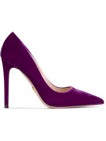 Prada Purple 120 Velvet Pumps - Farfetch