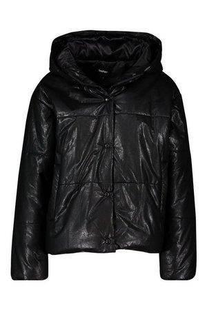 Petite PU Puffer Jacket | Boohoo black