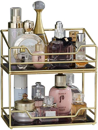 Amazon.com: 2Layer Stackable Glass Perfume Tray/2 Tirer Spacious Gold Black Mirror Metal Bathroom Tray for Makeup &Jewelry Organizer Ornate Decorative Tray for Vanity/Desser/Countertop/Kitchen: Home & Kitchen