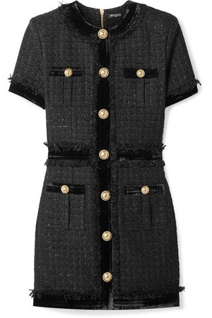 Balmain | Velvet-trimmed frayed metallic tweed mini dress | NET-A-PORTER.COM