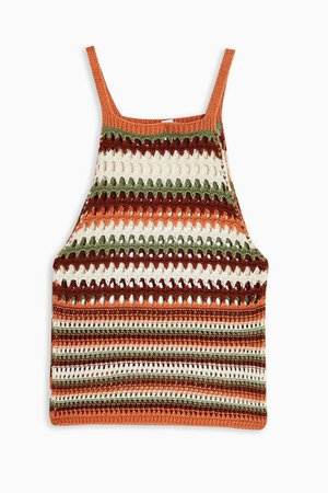 Multicoloured Stripe Knitted Racer Stitch Top   Topshop