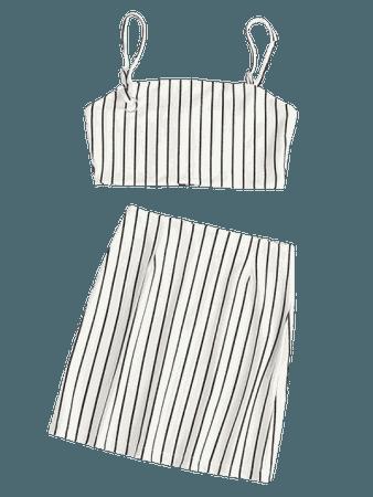 Striped Crop Top and Zip Front Skirt Set
