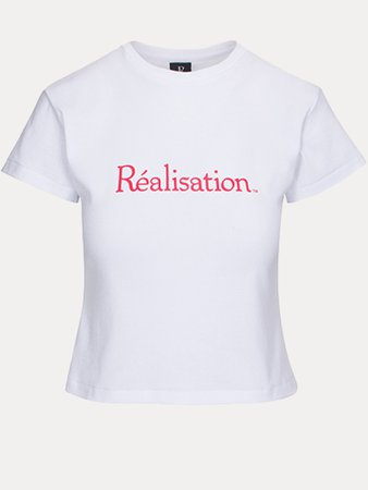 Realisation Logo Tee   White Baby Tee with Red Logo   Réalisation Par