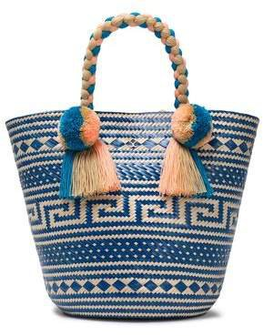 Anisa Embellished Woven Straw Tote