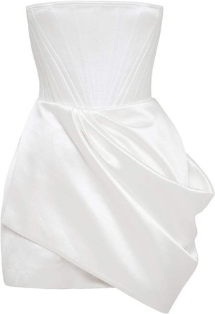 Alex Perry Jule Drape-Detailed Cotton-Silk Strapless Mini Dress