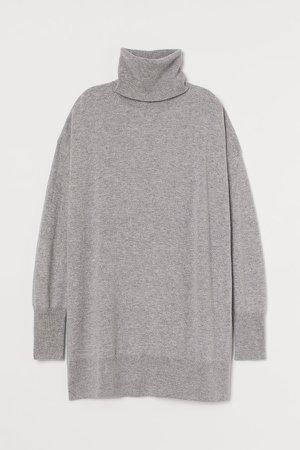 Wool Turtleneck Sweater - Gray