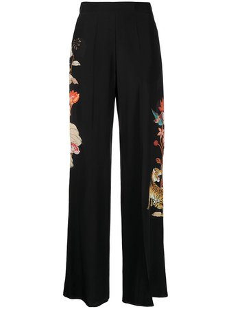Shop black Etro Tiger print flared trousers with Express Delivery - Farfetch