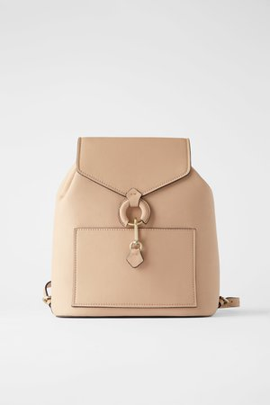 BACKPACK WITH RING DETAIL AND FRONT FLAP - Beige bags-BAGS-WOMAN | ZARA United Kingdom