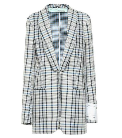 Checked Cotton And Silk Blazer | Off-White