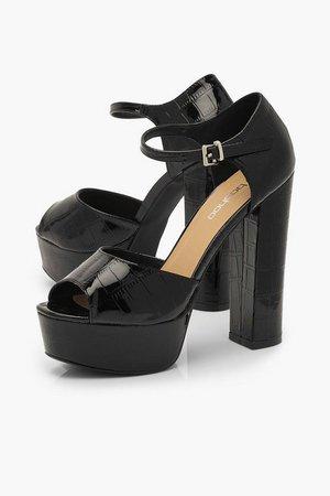 Croc Platform Two Part Heels | Boohoo