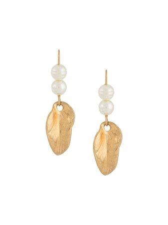 Marni Pearl Drop Earrings With Leaf Pendant - Farfetch