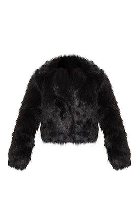 Black Faux Fur Jacket | Coats & Jackets | PrettyLittleThing