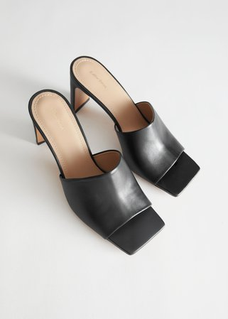 Heeled Leather Square Toe Sandals - Black - Heeled sandals - & Other Stories