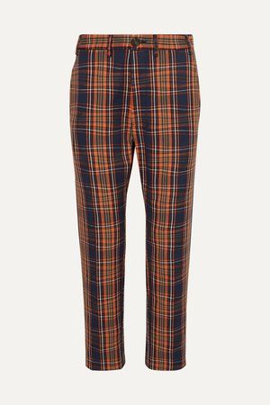 Navy Long George checked cotton-twill straight-leg pants | Vivienne Westwood | NET-A-PORTER