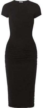 Ruched Stretch-cotton Jersey Midi Dress - Black