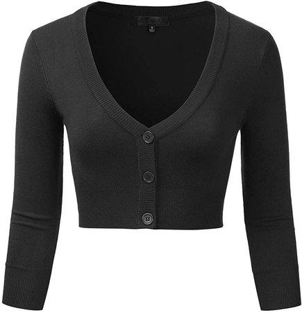 EIMIN Women's Button Down 3/4 Sleeve Cropped Bolero Cardigan Sweater Black S at Amazon Women's Clothing store