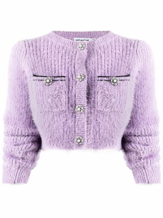 Shop Self-Portrait fluffy-knit cropped cardigan with Express Delivery - FARFETCH
