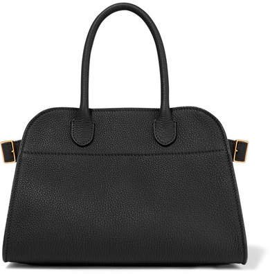 Margaux 10 Buckled Textured-leather Tote - Black