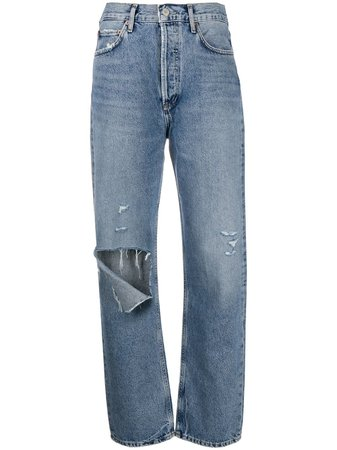 AGOLDE Ripped Organic Cotton Boyfriend Jeans - Farfetch