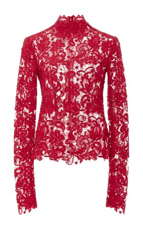 Toffee Art Pink / Red Long Sleeve Lace Blouse