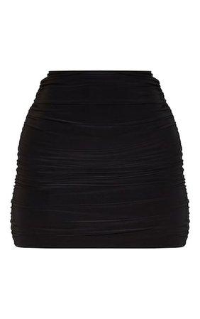 Black Slinky Ruched Side Mini Skirt | Skirts | PrettyLittleThing