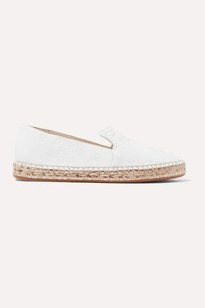 Butterfly Embroidered Textured-leather Espadrilles - White