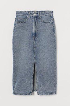 Denim Slit Skirt - Pale denim blue - Ladies   H&M US