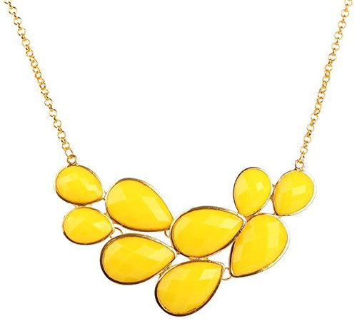 Amazon.com: Jane Stone Yellow Bubble Bib Necklace Fancy Chunky Necklace Fashion Jewelry Statement Necklace Evening Party Jewellery(Fn0564-Yellow): Clothing