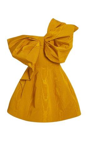 Bow-Embellished Moiré Mini Dress by Oscar de la Renta | Moda Operandi