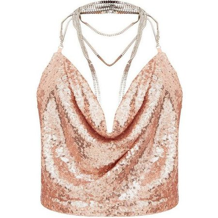Rose Gold Cowl Neck Sequin Chain Crop Top