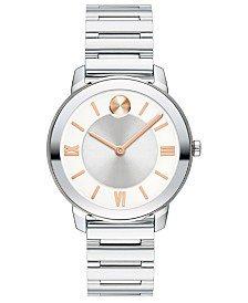 Movado Women's Swiss Bold Stainless Steel Bracelet Watch 30mm 3600433 & Reviews - All Fine Jewelry - Jewelry & Watches - Macy's