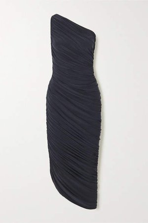 Diana One-shoulder Ruched Stretch-jersey Dress - Gray