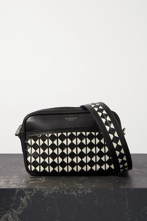 Two-tone Woven Leather Shoulder Bag - Black