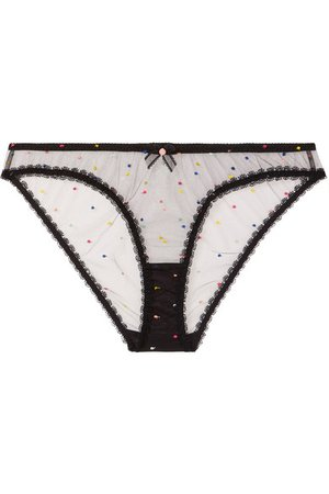 Agent Provocateur | Poppie lace-trimmed embroidered tulle briefs | NET-A-PORTER.COM