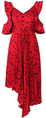 asymmetric printed pleated dress