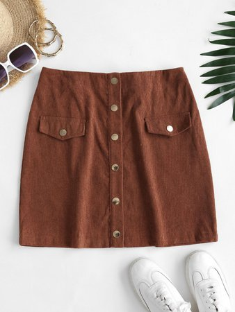 [34% OFF] 2020 Snap Button Corduroy A Line Skirt In COFFEE | ZAFUL