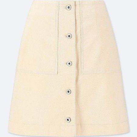 Women's Corduroy Front Button High-waist Mini Skirt