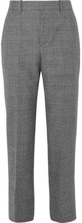 Prince Of Wales Checked Wool Straight-leg Pants - Black