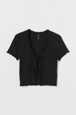 Tie-front Ribbed Top - Black