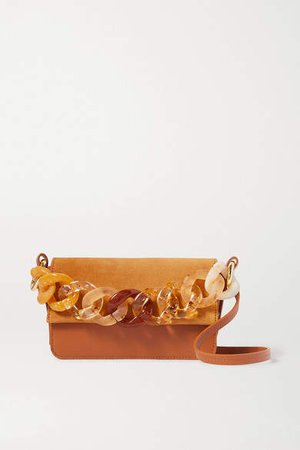Sofia Mini Suede And Leather Shoulder Bag - Tan