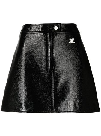 Shop Courrèges logo patch A-line skirt with Express Delivery - FARFETCH