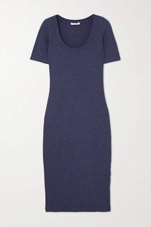 Ribbed Stretch-organic Cotton Midi Dress - Navy