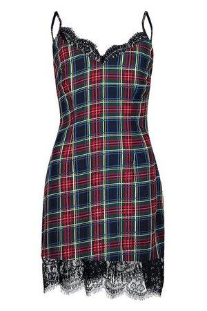Eyelash Trim Tartan Check Slip Dress | Boohoo black