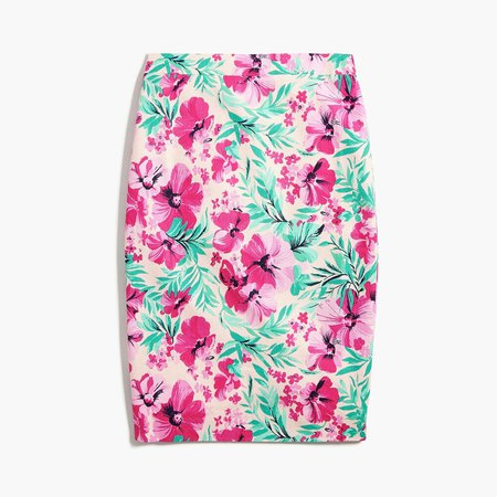 Printed basketweave pencil skirt