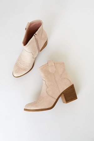 Dirty Laundry Unite Blush - Snake Ankle Boots - Western Boots - Lulus