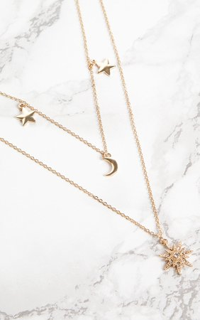 Gold Star Moon Pendant Layered Necklace | PrettyLittleThing