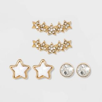 Acrylic And Acrylic Crystal Stones Trio Post Earring Set 3pc - Wild Fable™ White Crystal : Target