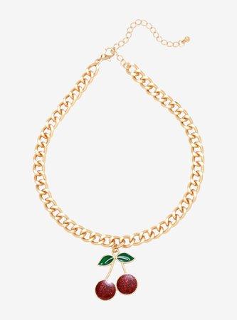 Glitter Cherry Gold Chain Choker