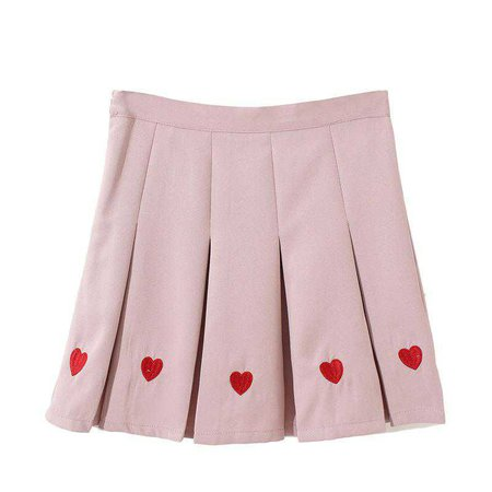 itGirl Shop | HEARTS EMBROIDERY PLEATED BLACK PINK AESTHETIC SKIRT
